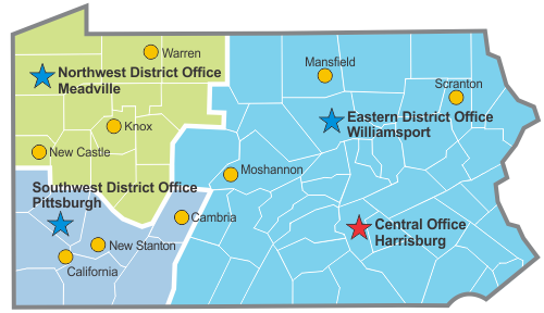 Map of DEP's Oil and Gas Office Locations