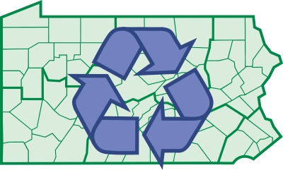 Recycling symbol superimposed on County Map of Pennsylvania