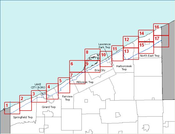 Lake Erie Coastal Zone Boundary Maps - Lake erie topographic map