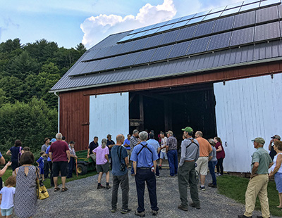 Solar panels on the barn at the barbour Farm