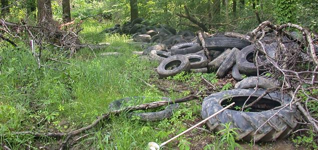 Illegally dumped tire pile in Pennsylvania