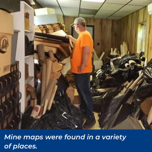 Mine maps were found in a variety of places
