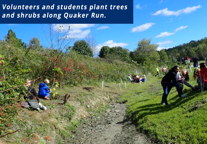 Volunteers and students plant trees and shrubs