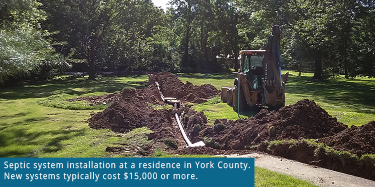 Septic system installation in York County