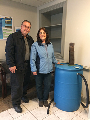 A rain barrel was given away at DEP's NCRO Open House